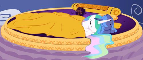 Luna and Celestia Sleeping by Nimaru