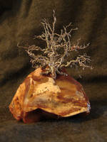 silver wire tree on rock by Rhed-Dawg