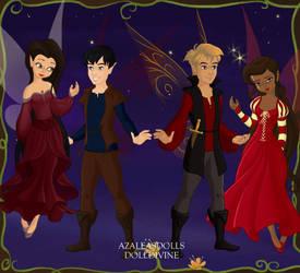 Pixi: Freya, Merlin, Arthur, and Gwen by OceanSilverBreeze