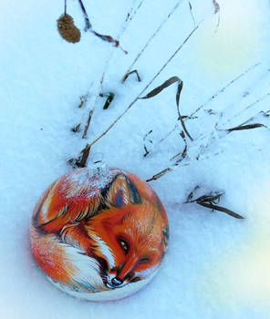 New Year's ball. Fox in the snow by Deygira-Blood