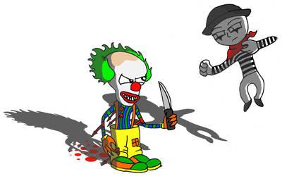 Clown Vs Mime by W1ngNutt