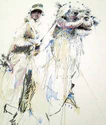 Luke and Tauntaun - ink and brandy by Carnegriff