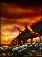 Darktown Train station concept by alexiuss