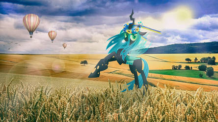 Queen Chrysalis in the field by HunterGiantesses