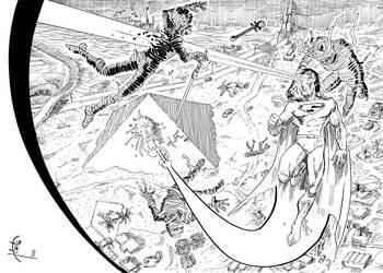 Superman-w-horde-of-mummies by hakantacal