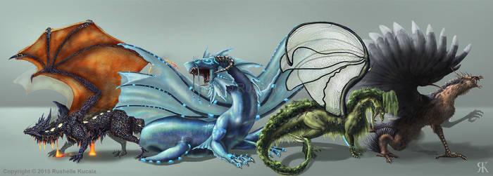 Elemental Dragon Line Up by TheDragonofDoom