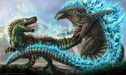 Godzilla VS. Atomic Rex by TheDragonofDoom