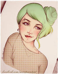 green hair by maripaint