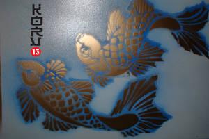 koi stencil by Korv13