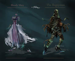 Commission: Bloody Mary and The Bogeyman Designs by Hassly