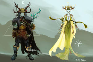 Commission: Dark Druid and Light Druid Designs by Hassly