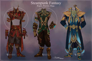 Commission: Steampunk Fantasy Outfits by Hassly