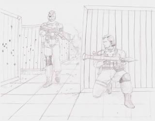 Solid Snake vs Venom Snake by MHT002
