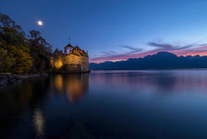 Chillon castle at night by orestART