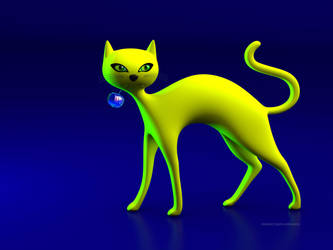 The Yellow Cat And Glass Blue Cherry! by THE-LEMON-WATCH