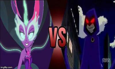 Deathbattle #1: Midnight Sparkle VS Raven by creepermin3