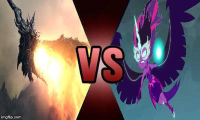 Deathbattle#6 Alduin VS Midnight Sparkle by creepermin3