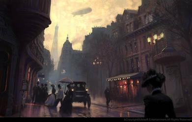 Rue durant la Belle Epoque. by gillesbeloeil