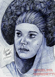 Padme Amidala Ballpoint Pen -Refugee Disguise Gown by AngelinaBenedetti