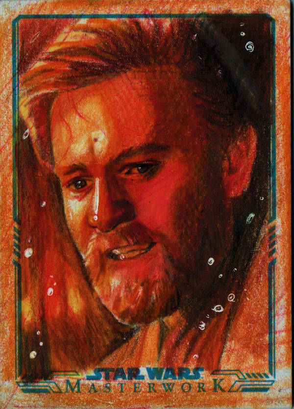 Obi- Wan Kenobi Sketch Card - THE IMMOLATION SCENE by AngelinaBenedetti