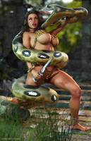Cavewoman vs Giant Snake by tiangtam