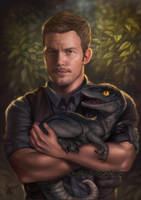 Jurassic World Chris Pratt with Blue by EmyChu