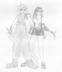 Cloud and Tifa by muddleddreamer