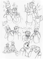 Fredbear and Spring Bonnie sketches by AllyN-One