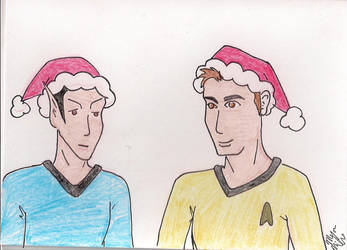 Spock and Kirk - Christmas Card Commission by Mistreena