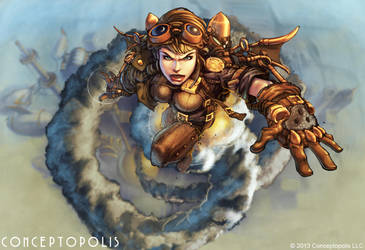 Steampunk Lady Flying by Conceptopolis