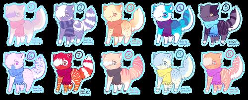 (CLOSED SET PRICE) Scarf kitties by Shiibsmoon