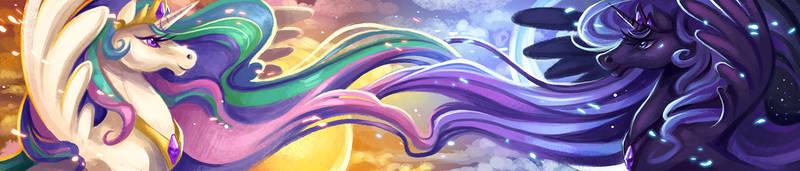 Luna/Celestia Scarf by Flying-Fox