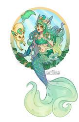 Leafeon Mermaid by Flying-Fox