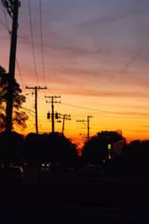 street as dusk falls by foolishbunny
