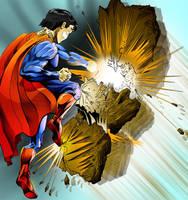 Superman punching meteorite by johnercek