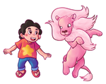 Steven and his Lion - Sticker/magnet designs by Kosmotiel