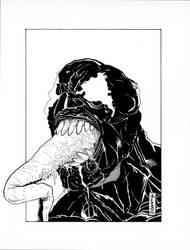 Venom Head Sketch (Ink) by LVCIFERX