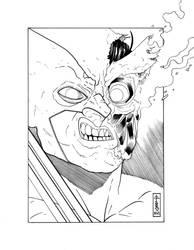 Wolverine Head Sketch (Ink) by LVCIFERX