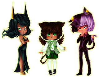 Egyptian Family Chibis by BlueRoseArkelle