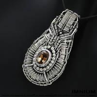 Imperial topaz and black diamond pendant by IMNIUM