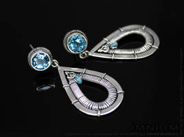 Swiss blue topaz and zircon earrings by IMNIUM