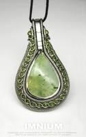 Prehnite teardrop pendant by IMNIUM