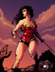 Wonder Woman Vs Cyclops Colored by Vonny88