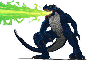 Commission: Monsturra use the Plasma Flame Breath! by papillonstudio