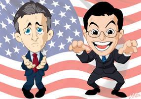 Jon Stewart + Stephen Colbert by kevinbolk
