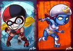 DC VS Marvel Roller Derby: Harley Quinn/Mystique by kevinbolk