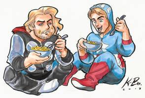 Cap n' Thor n' Macaroni n' Jammies Commission by kevinbolk