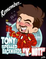 Tony spelled backwards is ''Y NOT?'' by kevinbolk