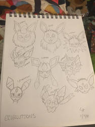 Eeveeloutions (first Pokmon drawing!!) by IDontLikeCoffee22