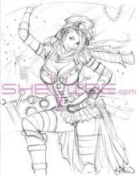Steampunk rough sketch by SheVibe